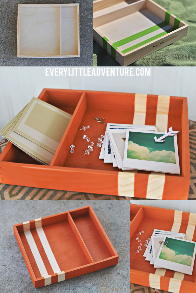 DIY Striped Tray - Simple and quick spray paint makeover! | Every Little Adventure