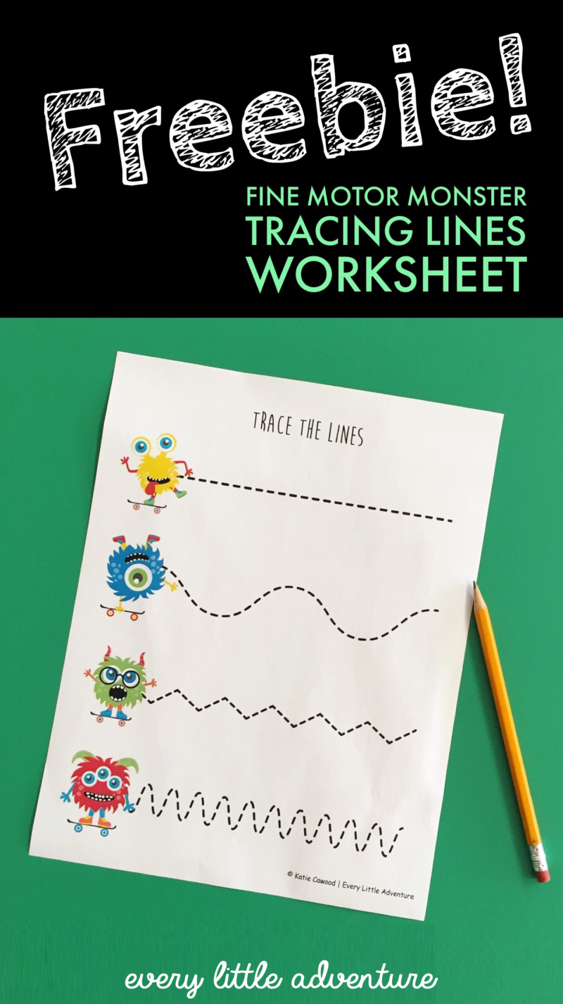 Freebie Monster Theme Fine Motor Tracing Worksheet