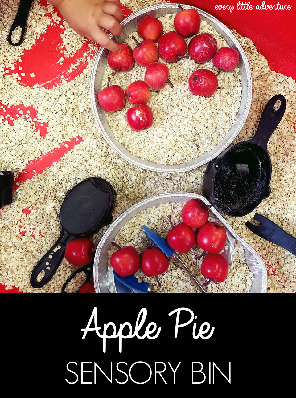 Apple pie oats sensory bin