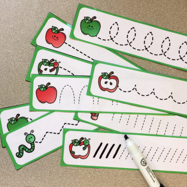 preschool apple theme - fine motor strips