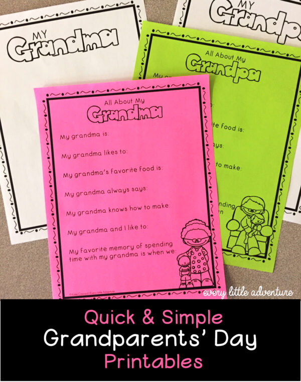picture about All About My Grandma Printable identify Grandparents Working day Printables for Pre-K Kindergarten -
