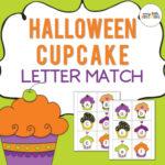 Halloween cupcake letter match for preschool