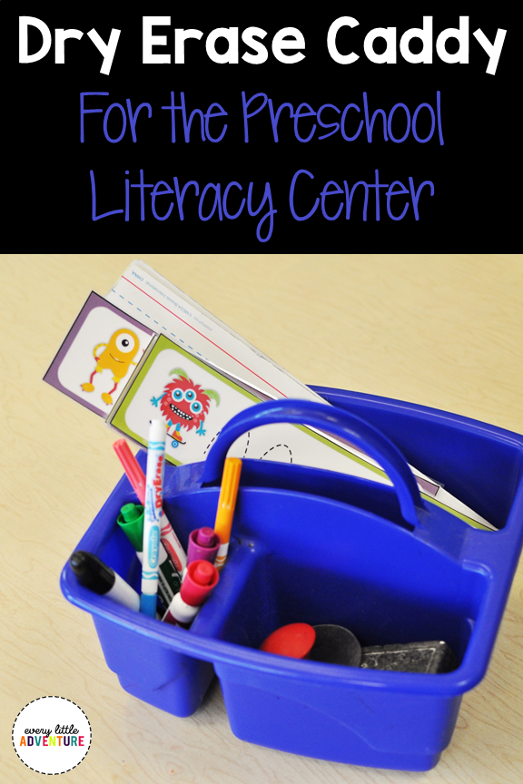 Dry Erase Caddy for Preschool Literacy Center. A great way to organize your dry erase materials in the literacy center.