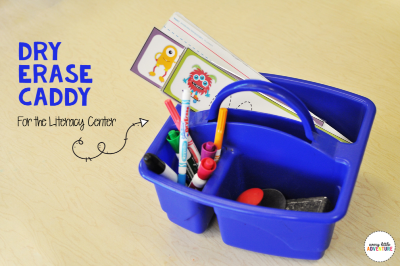 Dry erase caddy for the preschool literacy center