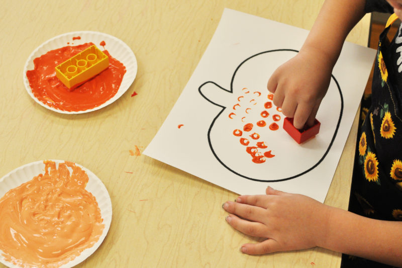 Fall craft: Lego-painted pumpkins