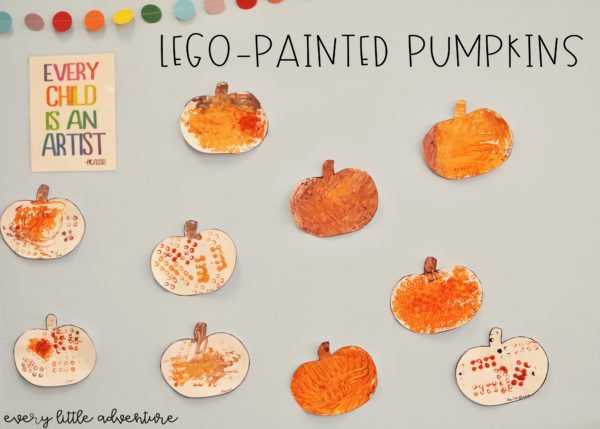 Fall Art Activity: Lego-Painted Pumpkins