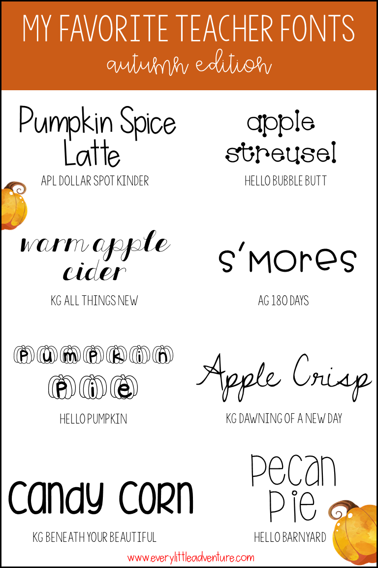 My Favorite Teacher Fonts from TPT -