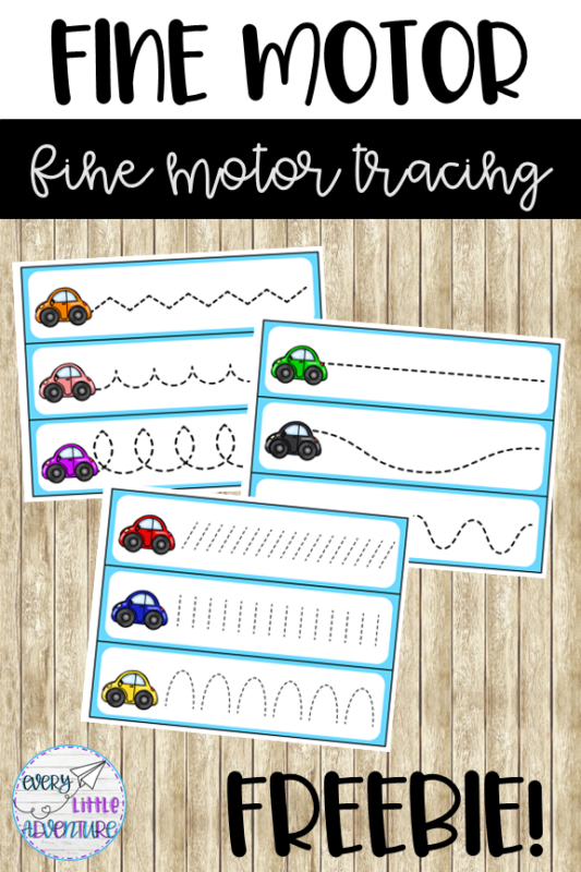 Free Car fine motor pre-writing tracing strips for preschool & pre-K by Every Little Adventure