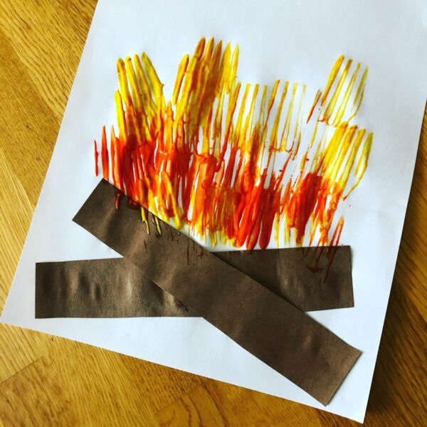 Preschool campfire process art activity