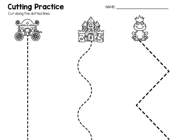 Fairy Tale Preschool Theme - Cutting Practice Worksheet