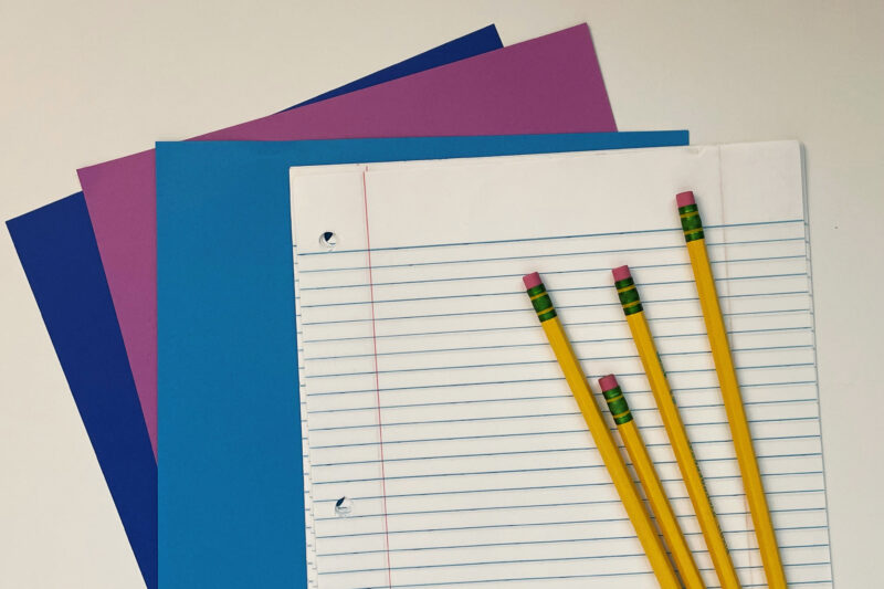 Preschool literacy center, writing tools. Paper, stationery, and writing utensils.